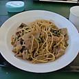 野沢菜と豚肉の和風パスタ